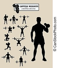 weightlifter, silhouettes