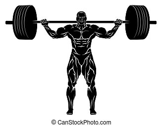 Weightlifter with barbell - Vector illustration of a ...