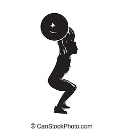 Weightlifter with big barbell, side view. Abstract isolated vector silhouette