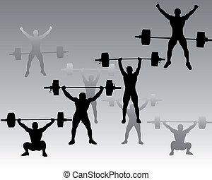 weightlifters, グレーのバックグラウンド
