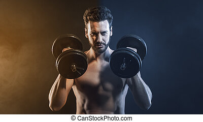 weightlifting, attraente, uomo