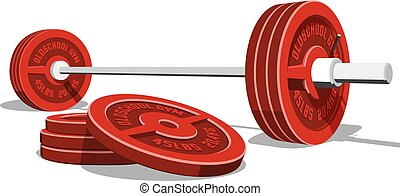 Weightlifting barbell with a stack of red discs