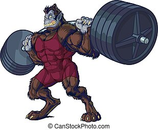 Weightlifting Beast Man Mascot - Vector cartoon clip art...
