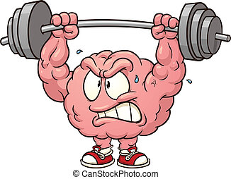 Brain lifting weights clip art. Vector cartoon illustration with simple gradients. All in a single layer.