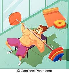 Weightlifting Cartoon Illustration - Weightlifting in a gym...