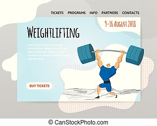 Weightlifting competition, man lifting heavy barbell over his head. Vector illutration in abstract flat style, design template of sport site header, banner or poster.