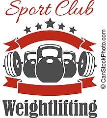 weightlifting, deporte, club, vector, señal