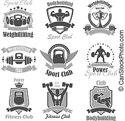 Weightlifting fitness gym sport club vector icons -...