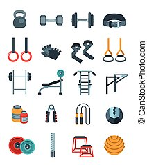 Weightlifting flat vector icons set