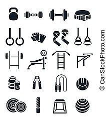 Weightlifting flat vector silhouettes icons set