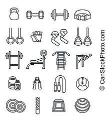 Weightlifting flat vector thin lines icons set