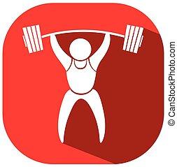 weightlifting, fondo rojo, icono