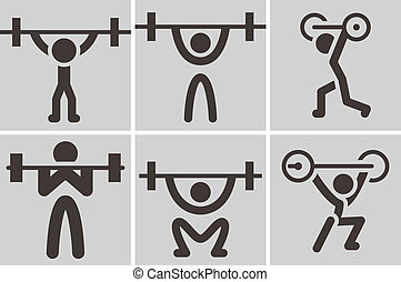 Weightlifting icons - Sports icons set - weightlifting icons