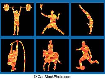 weightlifting, -, igrzyska, horsem, ikony