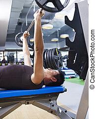weightlifting, in, turnhalle