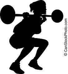 weightlifting, mujer, silueta