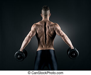 weightlifting, muskulös, mann