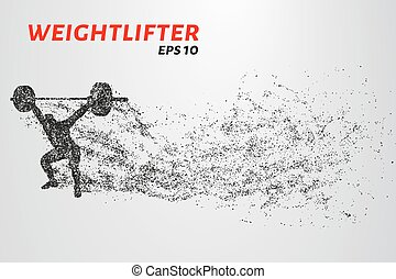 Weightlifting of particles. Athlete raises the bar in the ...