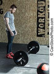 weightlifting, przygotowując, człowiek