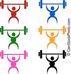 weightlifting sign or symbol; isolated on white background.
