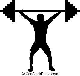 weightlifting, silhouette