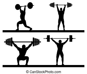 weightlifting snatch push on a white background