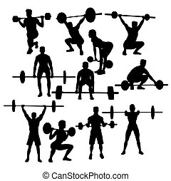 weightlifting Sport Activity Silhouettes