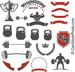 Weightlifting sport club isolated icons for emblem -...
