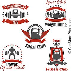 Weightlifting sport club or gym vector icons set - Gym sport...