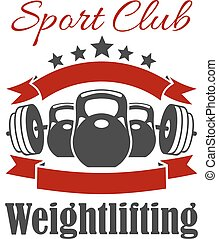 Weightlifting sport club vector sign