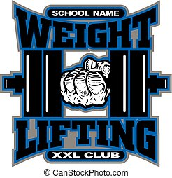 weightlifting team design with dumbbell for school, college...