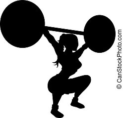 Vector silhouette of an woman exercising with heavy weights