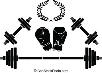 weights and boxer gloves