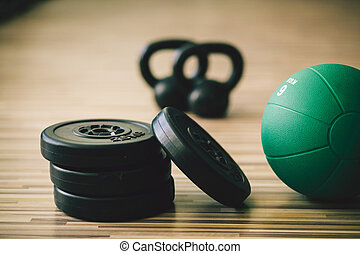 weights and medicine ball fitness background. Fitness and...