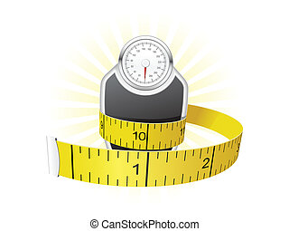 Dieting concept - weights wrapped with tape measure
