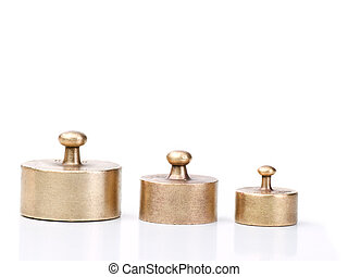 weights for balance scale - three older and worn-out balance...