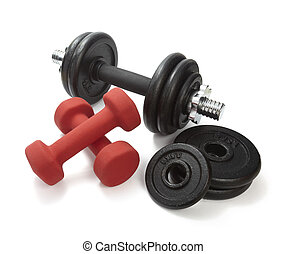 close up of body building equipment on white background with clipping path