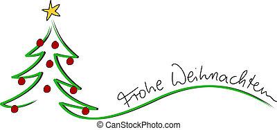 weihnachten, 圣诞节, 卡片, frohe