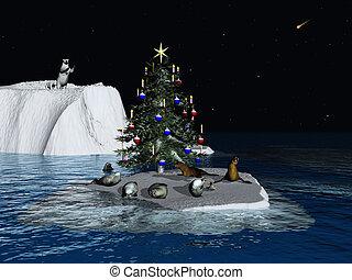 weihnachten, an, der, nordpol