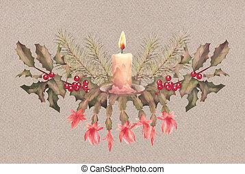 Aquarell feiertag umrandungen weihnachtsgirlande aquarell kegel girlande dekoration - Aquarell weihnachten ...