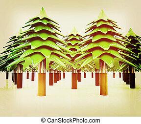 weihnachten, bäume., 3d, illustration., weinlese, style.
