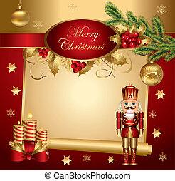 weihnachten, banner, nußknacker