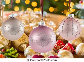 weihnachten, bezug, dekorationen, drei