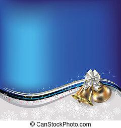 weihnachten, blaues, gruß, mit, glocken, und, schleife