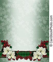 weihnachten, blumenrahmen, poinsettias