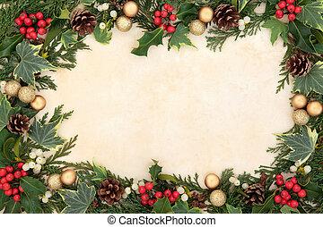 weihnachten, blumenrahmen