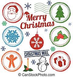 weihnachten, briefmarke, satz