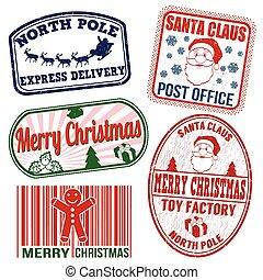 weihnachten, briefmarken, satz