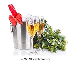 weihnachten, champagner, und, schnee, tanne