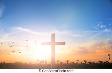 weihnachten, concept:, kreuzigung jesus christus, kreuz, an, sonnenuntergang
